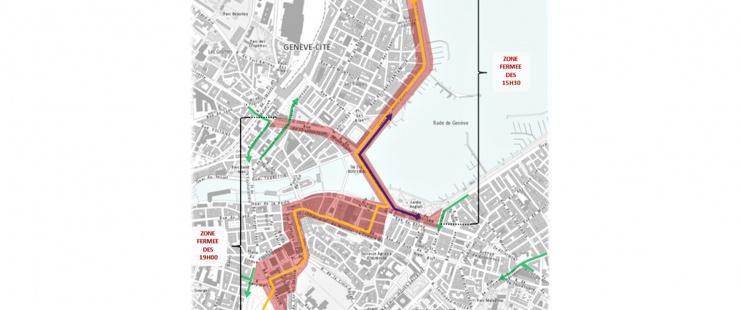Plan de l'itinéraire des cortèges