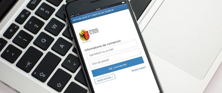 Téléphone mobile avec nouvelle page de connexion aux e-démarches